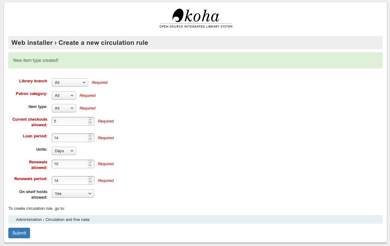 Koha Loan Conditions