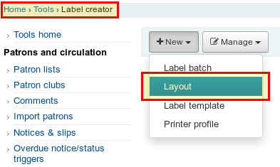 Label Creator Layout