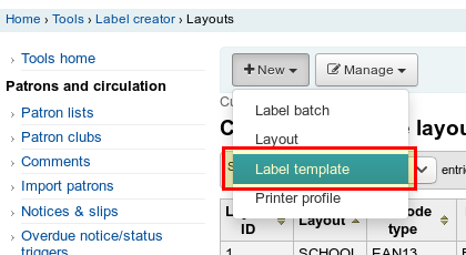 Create Label Template
